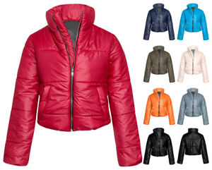 df89075d83c Wet Look Cropped Jackets Coat Padded Bomber Bubble Puffer Short UK ...