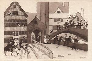 1933-VINTAGE-BELGIUM-COMIC-The-TERRITORIAL-DEFENSE-GUARD-Jean-Dratz-POSTCARD
