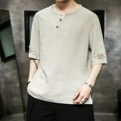 Retro Men T Shirt Linen Cotton Blend Loose Summer Blouses Tops Tunic Solid Tops