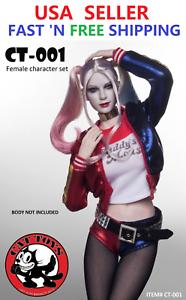 1 6 Conjunto de Disfraz de cabeza esculpida de Harley Quinn suicidio Figura del escuadrón para 12  Hembra