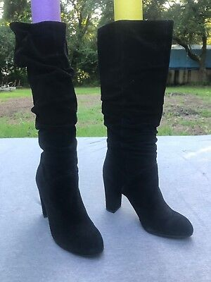 4b0d0563c1a Nine West Women's Black Suede Shiryl Slouch Heel Tall Boot Shoes Ret $189  New | eBay
