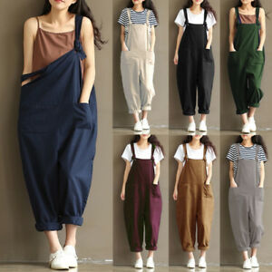 UK-Womens-Oversized-Strap-Dungaree-Jumpsuit-Long-Trousers-Harem-Pants-Size-8-24