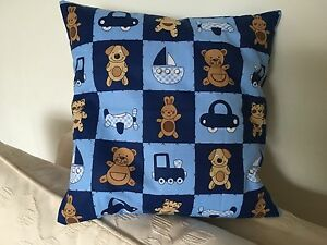Patchwork-Teddies-and-Dogs-children-039-s-cushion-pillow-cover-with-cushion-pad