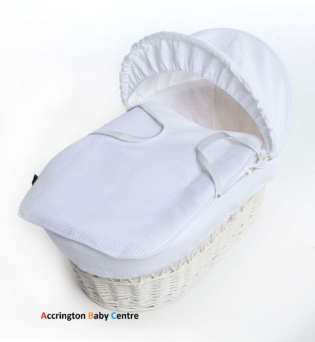 New Waffle Moses Basket Covers 4 Piece Bedding Set Inc Quilt,Skirt,Hood /& Sheet