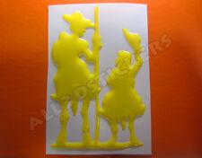 Pegatina Don Quijote y Sancho Panza 3D Relieve - Color Amarillo