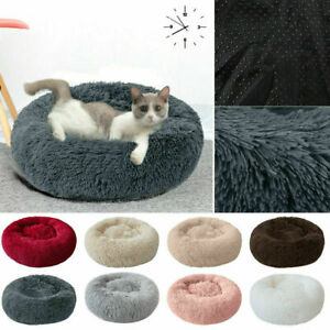 Pet-Dog-Cat-Calming-Bed-Round-Nest-Warm-Soft-Plush-Sleeping-Bag-Comfy-Flufy-Xmas