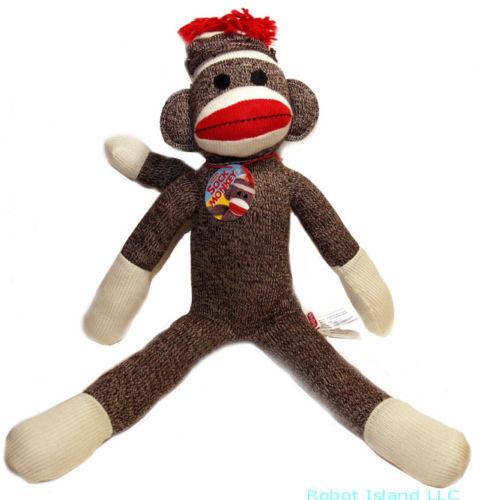 Schylling Classic Sock Monkey Plush Stuffed Animal 18 Inch Ebay