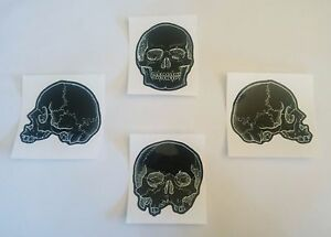 Skull-Sticker-Set-of-4-gloss-stickers-Gothic-Skulls-Heavy-Metal-Halloween-Punk