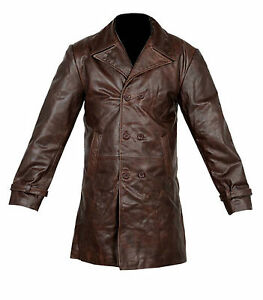 hot-selling real how to buy price reduced Details about VINTAGE MENS BROWN DISTRESSED COW HIDE REAL LEATHER LONG  TRENCH COAT JACKET UK