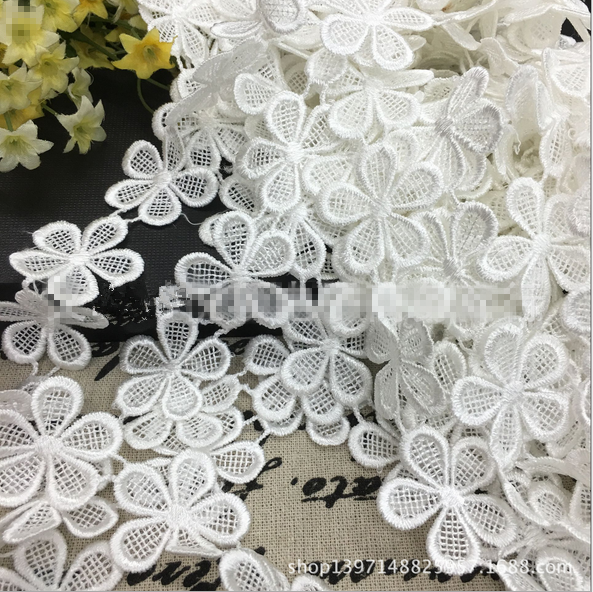 3 Yards White Flowers Cotton Crochet Lace Trim Wedding Dress