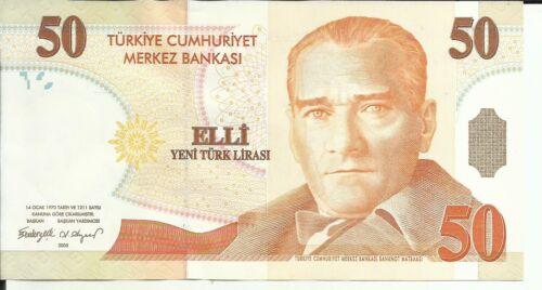 aUNC CONDITION TURKEY 50 LIRA 2005  P 220 4RW 11 OCT