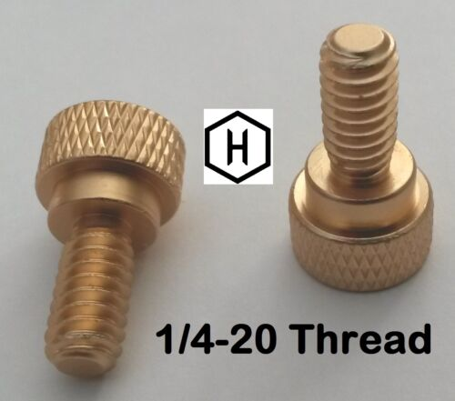 """25 Pieces 1//4-20 x 1//2/"""" Knurled Thumb Screw Aluminum Gold Anodized Finish"""