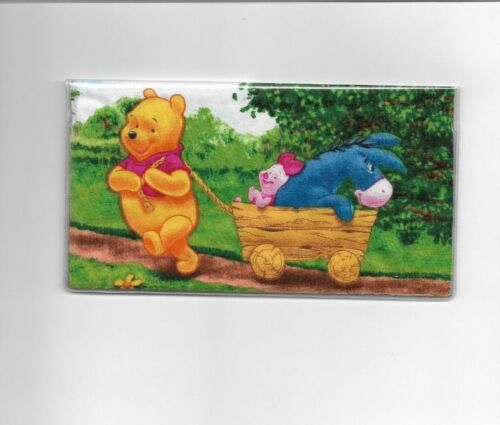 WINNIE THE POOH CHECKBOOK COVER FABRIC PIGLET AND EEYORE WAGON