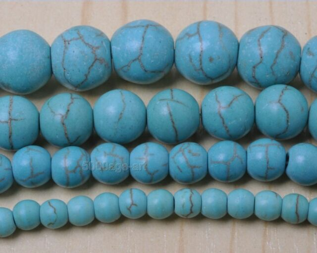 Wholesale 4mm 6mm 8mm 10mm Round Loose Turquoise Charm Spacer Beads Jewelry