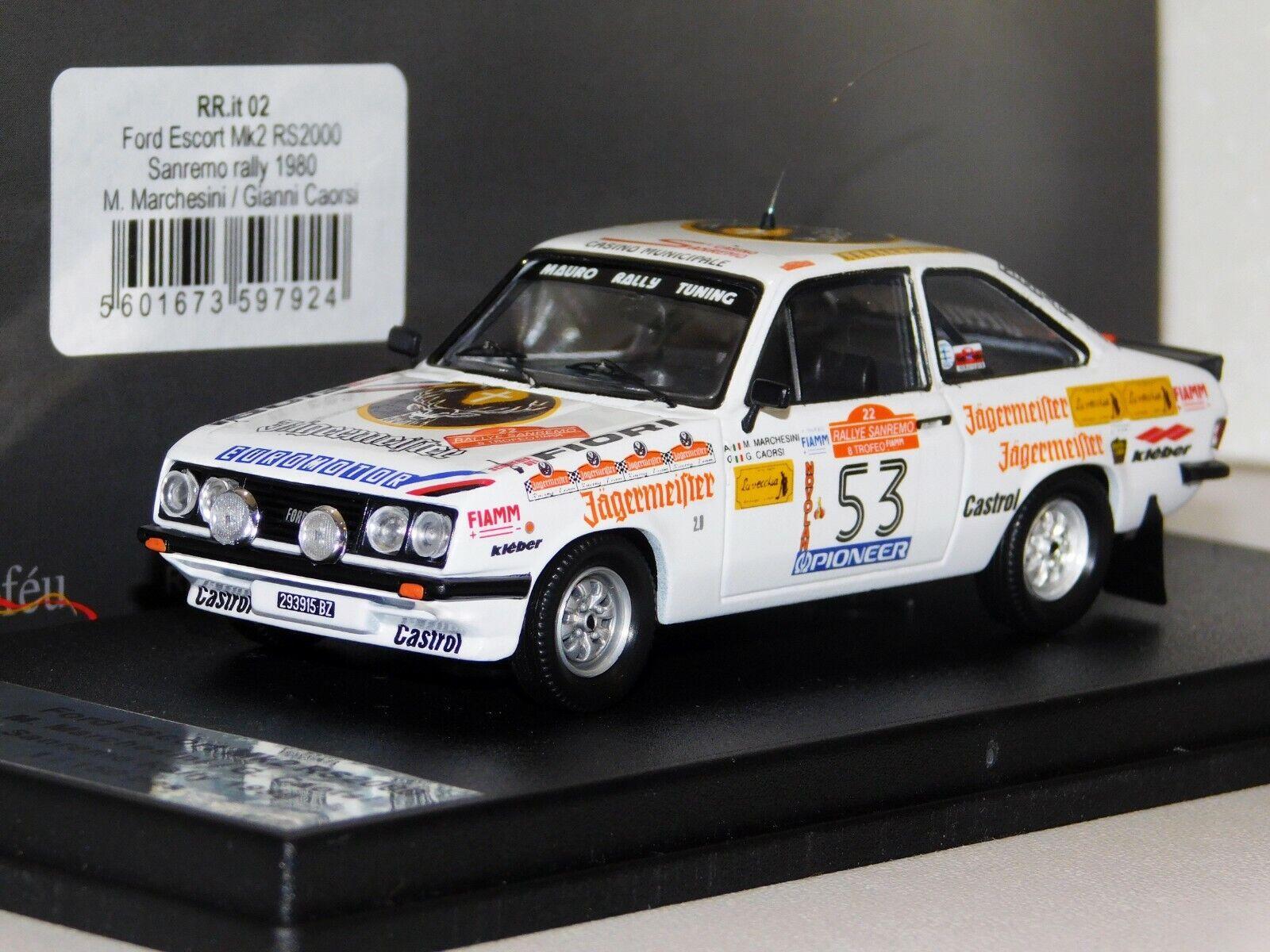te hará satisfecho Ford Escort MK2 JAGERMEISTER  53 Sanremo Rally Rally Rally 1980 Trofeu Lim. RR. it 02 1 43  comprar descuentos