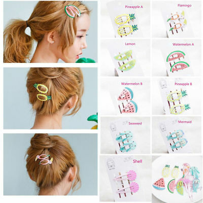 6pcs Charm Cute Hair Clips Snaps Hairpin Girls Baby Kids Hair Bow Accessory New