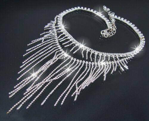 Collier Strass Silber plattiert Kette Ohrringe Schmuckset Braut Hochzeit S1411*