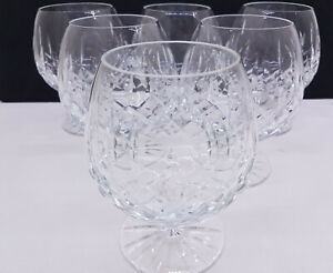 Set-of-x6-Lovely-Large-Cut-Crystal-Wine-Glass-Balloon-Stem-Goblet-Boxed