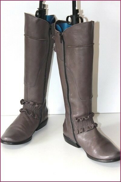 FIDJI Leather Boots Grey Lined leather T 35 BE