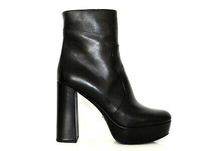 Damen Stiefeletten Cut Out Plateau Ankle Boots Reißverschluss Block Schwarz
