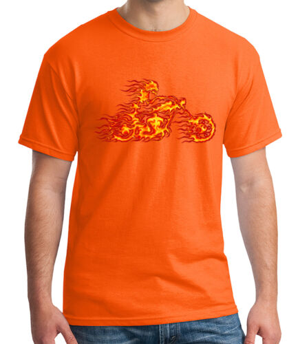 1335C Flaming Rider Adult/'s T-shirt Flame Ghost Motorcycle Tee for Men