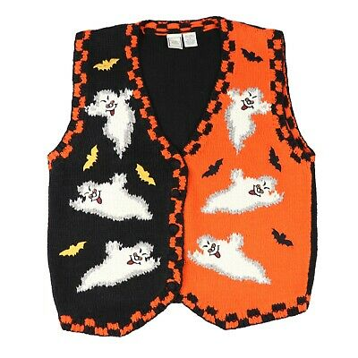 Ausdrucksvoll Toll! Vtg 90er Jahre Damen Klein Spooky Ghost Halloween Pullover Weste Casper Mild And Mellow