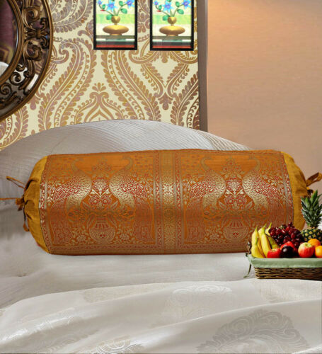 Indian Brocade Silk Pillowcas Round Bed Sofa Neck Bolster Cushion Cover Set