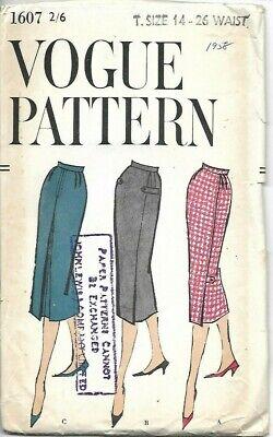 "Abundante 1958 Vintage Vogue Sewing Pattern 1607 Damas Falda Sin Usar Talla 14, W26"""