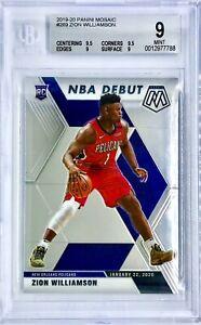 2019-20 Panini Zion Williamson Mosaic NBA Debut Rookie Card RC BGS 9 MT Pelicans