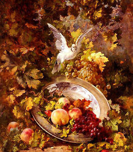 Dream-art-Oil-painting-still-life-Peaches-And-Grapes-With-A-Dove-hand-painted