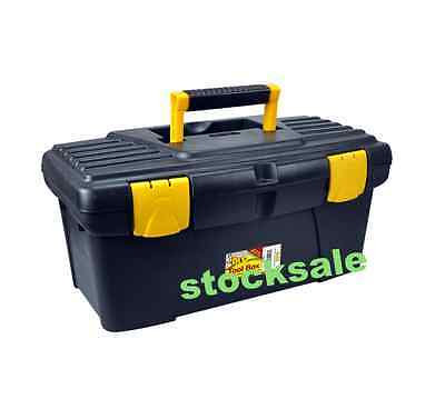 "19""   TOOL BOX WITH HANDLE TRAY DIY STORAGE PLASTIC TOOLBOX"
