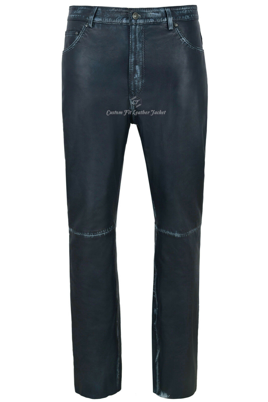 Men's Leather Trouser Navy Vintage Lambskin Leather Jean Motorcycle Style 501