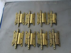 Lot-8-VTG-NOS-Offset-Hinges-Brass-Plated-3-5-034-Butterfly-Amerock
