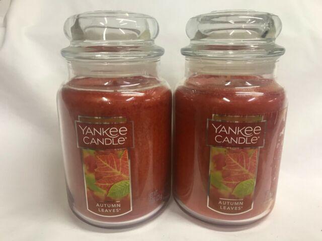Yankee Candle Lot (2) AUTUMN LEAVES 22 oz Large Jar ...