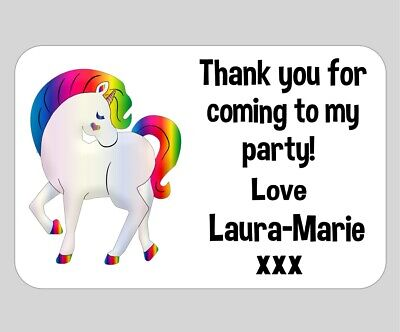 Personalised Rainbow Unicorn party thank you bags sweets stickers labels