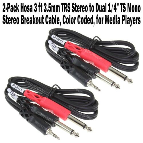 """2-Pack Hosa 3 ft 3.5mm TRS Stereo to Dual 1//4/"""" TS Mono Breakout Cable Tip Ring"""