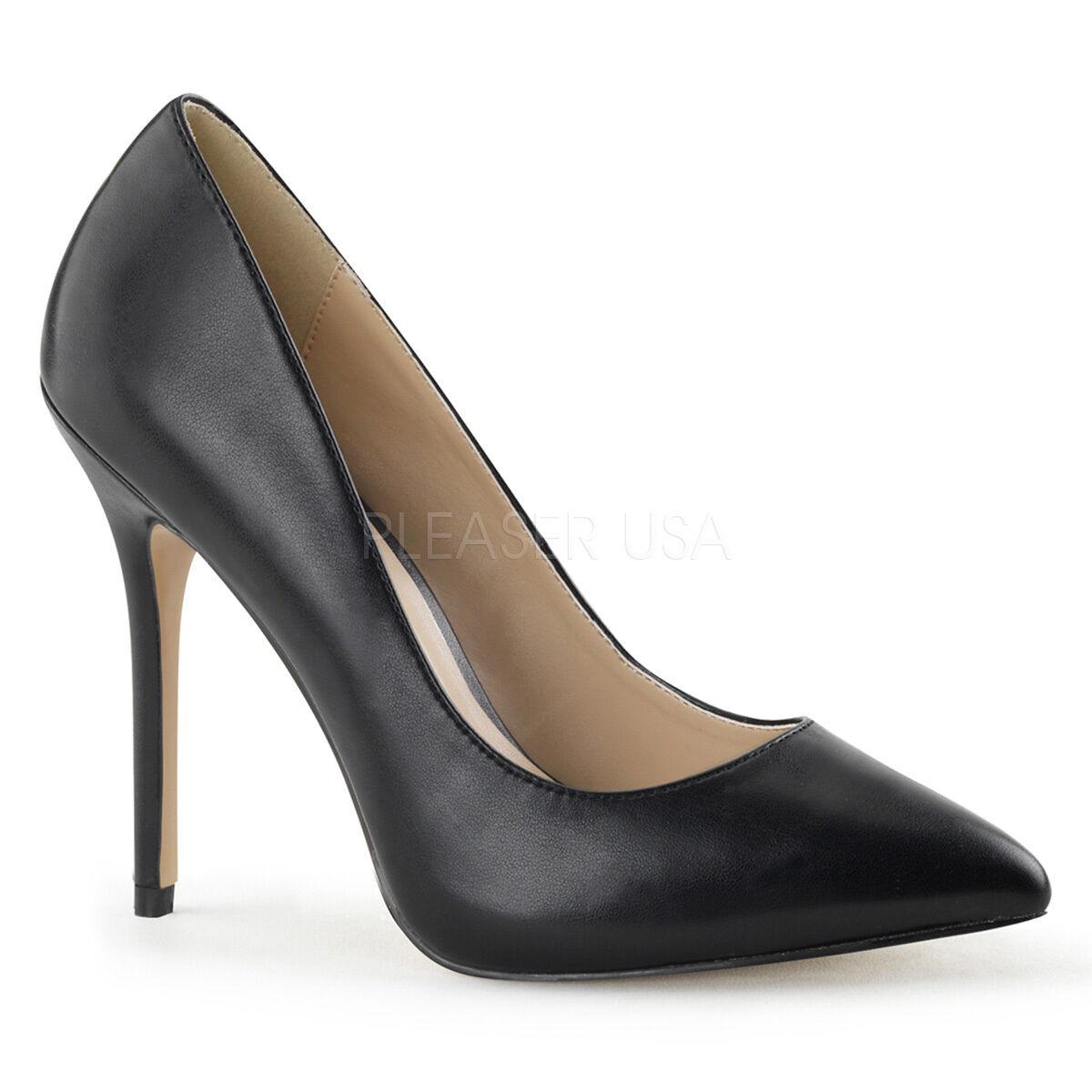 Pleaser 5  Spike Heel Black Vegan Classic Pointy Toe Hidden Platform Pumps 5-16