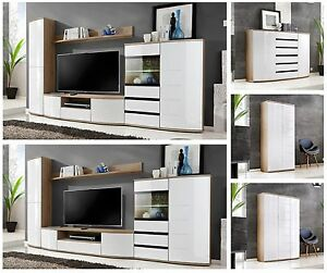 Modern Wall Unit Display Living Room Unit High Gloss Furniture Ontario Free P P Ebay