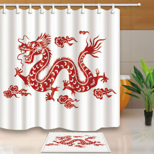 Image Is Loading Paper Cutting Chinese Dragon Shower Curtain Bathroom Waterproof