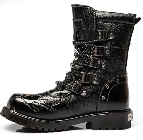 Men Punk Gothic Biker Combat Military boots Army Mid calf Boots Motocycle Shoes