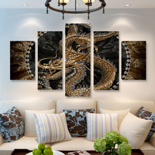 5pcs Animal Dragon HD Canvas Print Painting Pictures Home Wall Decor Unframed