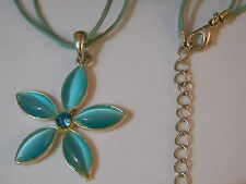 "Sky Blue Moonglow Glass Rhinestone Flower Silver pendant 16"" Cord Necklace 8f 7"