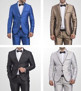 Slim-Fit-Herrenanzug-TK-glanz-in-Blau-Gold-Schwarz-Silber-Anzug-Buehne-Sakko