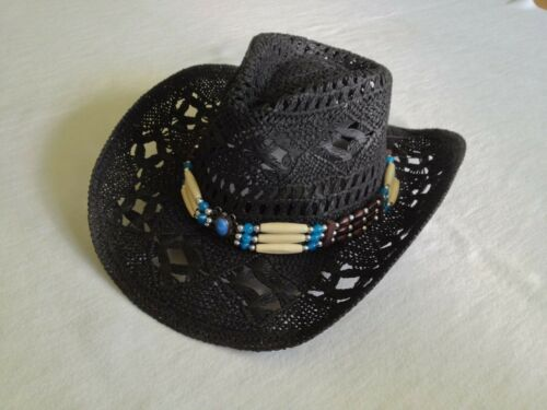 Cowboyhut mit Hutband und formbarer Krempe Westernhut Strohhut Country Western