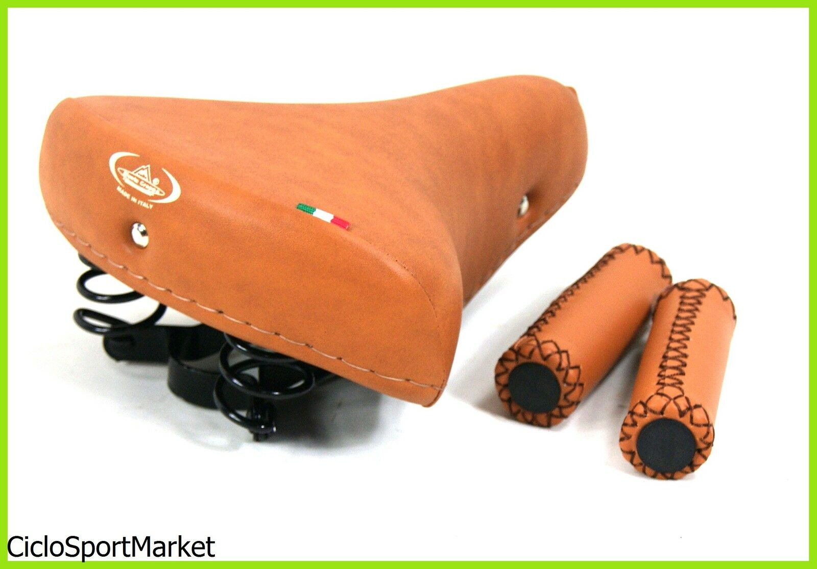 Sattel MONTEGRAPPA mit Federn+Lenkergriffe Eco-Leder Honig City Bike Graziella R  | Sale Online Shop