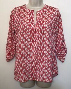 Birdcage Label Anthropologie Small Blouse Red White 3/4 Sleeve V-Neck Top