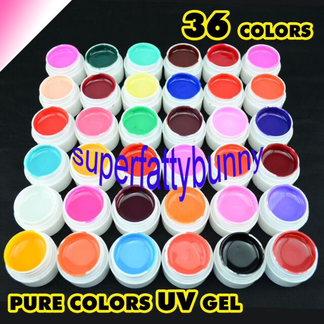 36 Pure Colors Pots Shiny Cover UV Gel Nail Art Tips Extension Decor GDCOCO