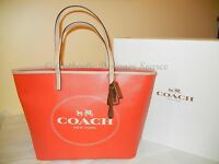 Coach Metro Horse & Carriage Tote Vermillion & Light Leather with Gift Box NWT