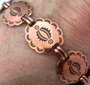 Copper-Bracelet-7-3-8-034-Linked-Wheeler-Concho-Arthritis-Healing-Folklore-cb-267