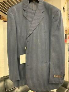 New-50R-3-Button-Men-039-s-Blue-Pinstripe-Suit-100-Wool-Made-in-Italy-Retail-1295